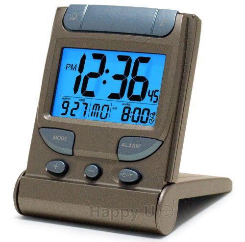 Digital Travel Clock with EL Backlight, Dual Time & Dual Crescendo Alarm with Snooze