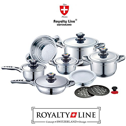 royalty-line-switzerland-batteria-pentole-16-pezzi-nuova-serie-in-scatola-regalo-acciaio-inox-18-10-
