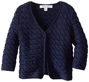 Brooks Brothers Little Girls' Three Quarter Sleeve Cable Knit Cardigan, Peacoat, X-Small