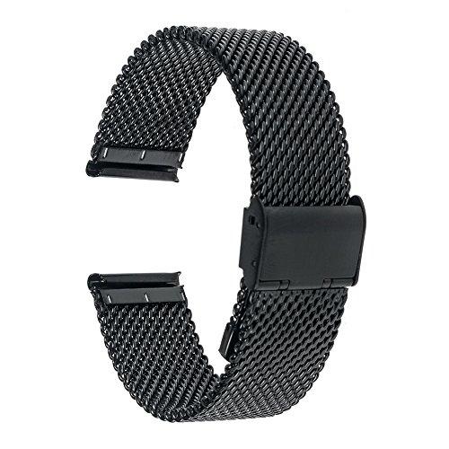 TRUMiRR 18 millimetri Guarda Cinturino Milanese Stainless Steel Band per Huawei Watch, Asus ZenWatch 2 WI502Q femminile, Withings Activite / Acciaio / Pop