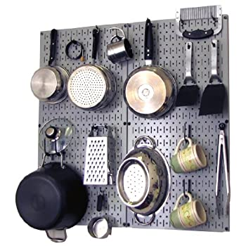 Wall Control 30-KTH-200 GB Kitchen Pegboard Organizer Pots and Pans Pegboard Pack Storage and Organization Kit with Grey Pegboard and Black Accessories