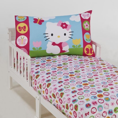 Hello Kitty 2-Piece Toddler Sheet Set- Fitted Sheet + Pillowcase