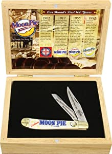 Frost Cutlery & Knives MNP812WSBBX Moonpie Trapper Pocket Knife with White Smooth Bone Handles