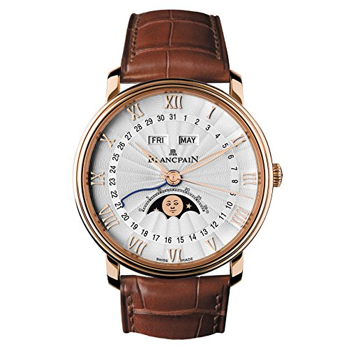 Blancpain Villeret Moonphase & Complete Calendar Automatic Oplaine Dial Brown Leather Mens Watch 6664-3642-55B