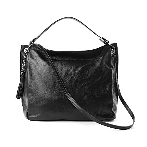 Almo - Borsa in pelle da donna made in Italy, colore nero, a tracolla, a spalla, con tracolla staccabile