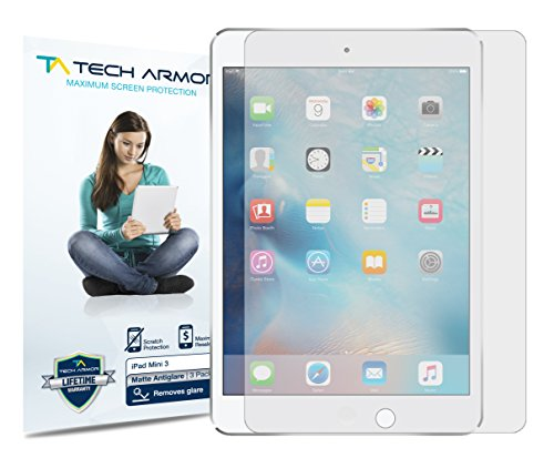 Tech Armor Apple iPad Mini 3 / iPad Mini 2 / iPad Mini [NOT Mini 4] Anti-Glare/Anti-Fingerprint (Matte) Screen Protectors [3-Pack] Lifetime Warranty primary