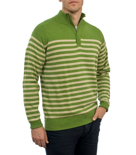 Mens Cashmere & Cotton Striped Zip Neck Jumper Pea Marl/Sand Extra Large