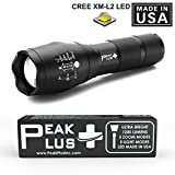 PeakPlus Best and Brightest LED Flashlight CREE XM-L2 - 1200 Lumen LED Made in USA, Zoomable Adjustable Focus, 5 Modes, Water Resistant Tactical Torchlight For Outdoors, Camping, Hiking, Fishing