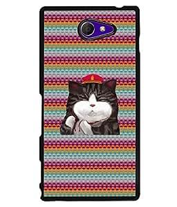PrintVisa Metal Printed Cat Designer Back Case Cover for Sony Xperia M2/ M2 Dual-D4972