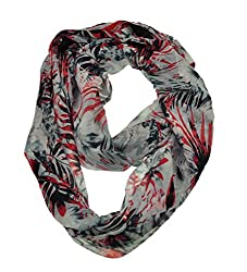 WishCart? Women's Infinity Scarf Light Weight Flower And Trees Printed,Size Bigger Then Others(Black)