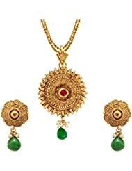 Om Jewells Traditional Ethnic Kundan Elegant Floral Necklace Set With Pearl Drop PS1000714