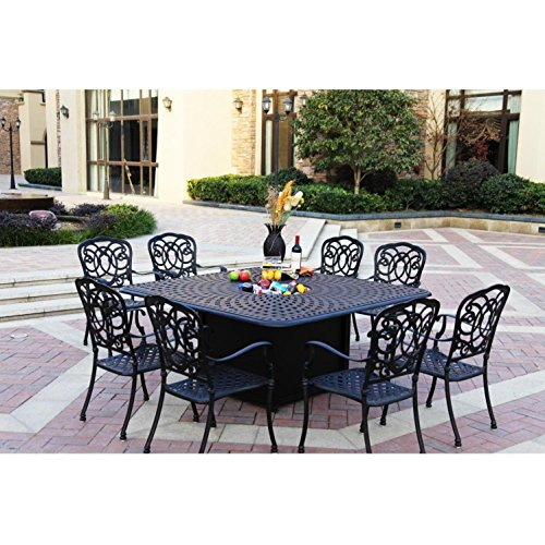 Darlee Florence 9 Piece Cast Aluminum Patio Fire Pit Dining Set - Dining Table With Ice Bucket Insert - Antique Bronze 1