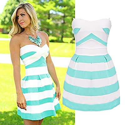 Janecrafts Women Strapless Stripe A-Line Fit and Flare Cocktail Party Dress