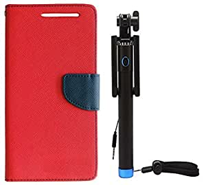 Novo Style Book Style Folio Wallet Case Micromax Canvas Sliver 5 Q450 Red + Wired Selfie Stick No Battery Charging Premium Sturdy Design Best Pocket Sized Selfie Stick