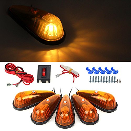 Partsam 5x Teardrop Cab Marker Roof Running Amber Safety Lights Kit Truck Boat RV Pickup (Teardrop Cab Lights compare prices)