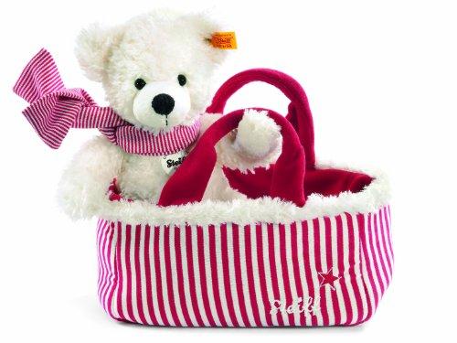 Steiff 111495 – Lotte Teddybär mit Tasche, weiß