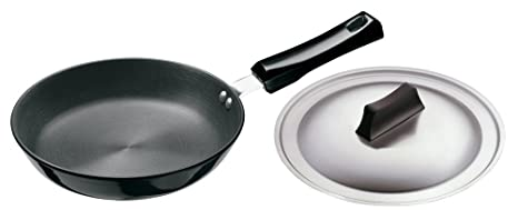 Hawkins Futura Hard Anodised Frying Pan with Steel Lid, 22cm at amazon