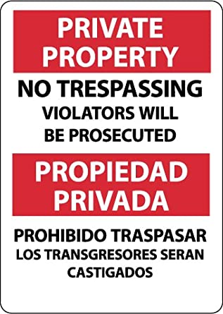 """NMC M733RB Bilingual Security Sign, Legend """"PRIVATE PROPERTY NO TRESPASSING VIOLATORS WILL BE PROSECUTED"""", 10"""" Length x 14"""" Height, Rigid Polystyrene Plastic, Red/Black on White"""