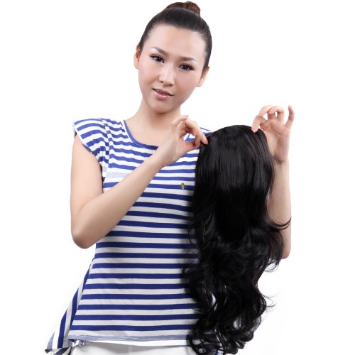 High Quality Synthetic 20 Inch Black Curly Ponytail Hairpiece Pt002
