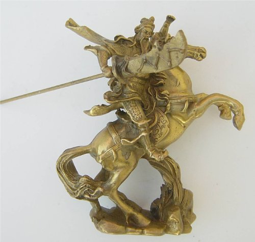 Feng Shui Brass Kwan Kung Sitting on Horse Statue