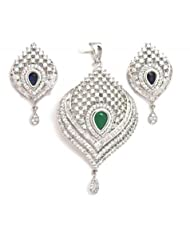 Orne Jewels Interchangeble Gemstone Pendant Set With American Diamonds For Women - B00IO9EWD0