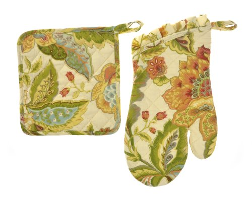 Euphoria Handmade Cotton Quilted Prints Oven Mitt Mitten And Kitchen Pot Holder Combo Set India Traditional Painting Design front-416831