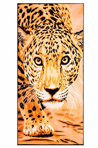 Microfiber Beach Towel Leopard Face Print 100% Polyester 28