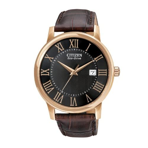 Citizen-Mens-Quartz-Watch-with-Black-Dial-Analogue-Display-and-Brown-Leather-St