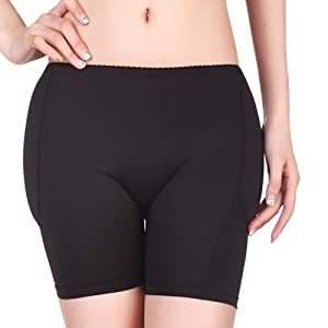 73c231188 BIMEI 4pcs Women Butt Lifter Silicone Padded Panties Hip Enhancer Underwear  Shapewear (Black