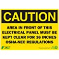 "Zing Eco Safety Sign, Header ""CAUTION"", ""AREA IN FRONT OF THIS ELECTRICAL PANEL MUST BE KEPT CLEAR FOR 36 INCHES OSHA-NEC REGULATION"", 14"" Width x 10"" Length, Recycled Plastic, Black on Yellow (Pack of 1)"
