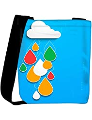 Snoogg Bstract Rainy Season Background With Cloud And Colorful Water Drops Womens Carry Around Cross Body Tote...