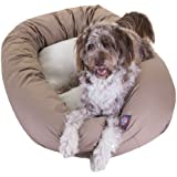 Majestic Pet 52-Inch Sherpa Bagel Bed for Pets, Khaki