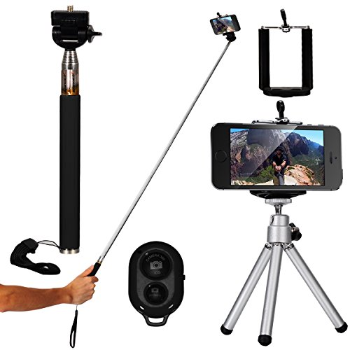 XCSOURCE Nero Portatile Selfie Monopiede Telescopico Autoscatto Stick estensibile + Wireless Bluetooth selfie Telecomando/Scatto Remoto + Phone Support + Treppiede Per IOS Android iPhone 6 6 plus Sumsung DC494