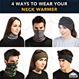 Fleece Neck Warmer [Solids] - Reversible Neck Gaiter Tube, Ear Warmer Headband, Mask & Beanie. Ultimate Thermal Retention, Versatility & Style. Performance Comfort Fleece & Microfiber Construction