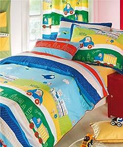 aminata kids kinderbettw sche 100x135 auto bettw sche automotiv lkw zug jungen bettw sche. Black Bedroom Furniture Sets. Home Design Ideas