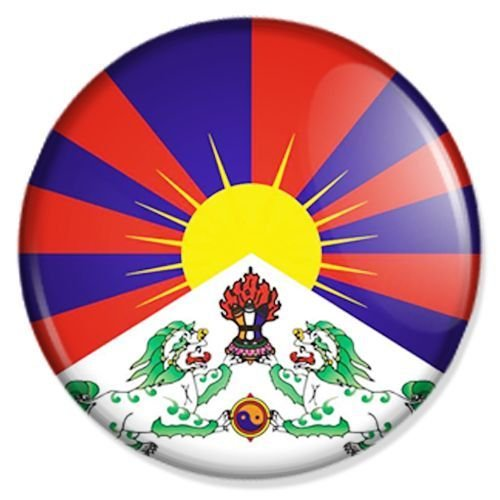 Button Flagge Freies Tibet - Tibet Badge, Tibet Pin, Tibet Anstecker, Tibet Button, Tibet Ansteckpin