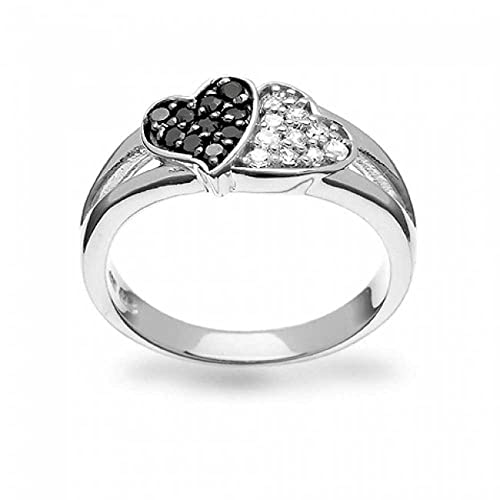 Bling Jewelry Sterling Silver Pave Clear Simulated Onyx CZ Double Heart Ring