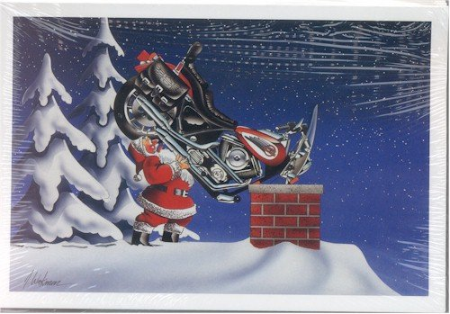 Harley Davidson Christmas Cards, Santa Putting Softail Down Chimney, Pack of 10 with envelopes