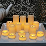 Candle Impressions Set of 15 Ivory Wax Coated LED Assorted Votives Collection