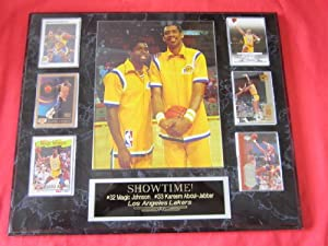 Magic Johnson Kareem Abdul-Jabbar Los Angeles Lakers 6 Card Collector Plaque w 8x10... by J & C Baseball Clubhouse