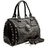 HOWEA Trendy Black 3D Devil Skull Studded Top Double Handle Doctor Style Bowler Satchel Shopper Tote Handbag Purse Shoulder Bag