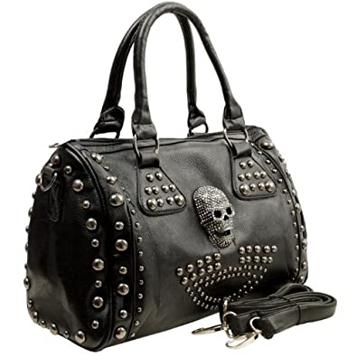 HOWEA Trendy Black 3D Rhinestone Devil Skull Studded Top Double Handle Doctor Style Bowler Satchel Shopper Tote Handbag Purse Shoulder Bag
