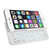 MXtechnic Ultra-thin Slide-out Wireless Bluetooth Keyboard Protective Hard Back Case Cover with Backlight for iPhone 6 4.7 inch (White)