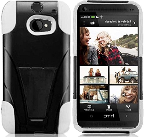 Mylife Pitch Black + Ghost White {Impact Design} Two Piece Neo Hybrid (Shockproof Kickstand) Case For The All-New Htc One M8 Android Smartphone - Aka, 2Nd Gen Htc One (External Hard Fit Armor With Built In Kick Stand + Internal Soft Silicone Rubberized Fl