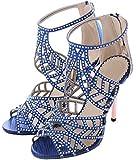 Littleboutique Crystal Studs High Heel Sandals Peep Toe Strappy Sandals Party Pumps Evening Dress Shoe