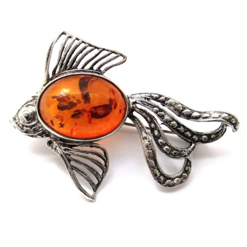 Baltic Honey Amber Sterling Silver Museum Collection Fish Pin 19th Century