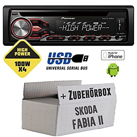Skoda Fabia 2 - Pioneer DEH-4800FD - HighPower 4x100 Watt CD/MP3/USB Autoradio - Einbauset