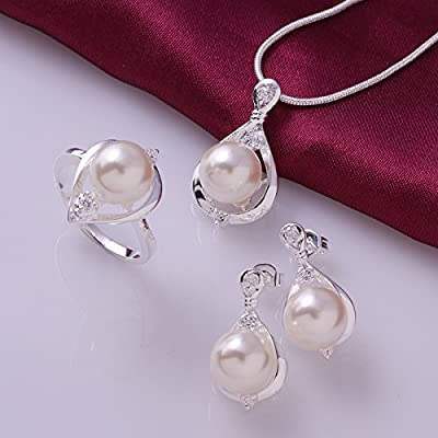 Pmany Vintage Waterdrop Shaped 925 Sterling Silver Plated Pearl Pendant Necklace Ring Earring Jewelry Set Gift
