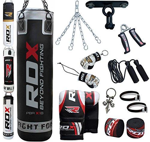RDX Boxe 13PC Pelle 4FT 5FT Sacchi Pugilato MMA Pieno Guanti Sacco Terra Base Allenamento Gancio Soffitto