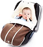 Wallaboo Footmuff Faux Suede and Soft Sheerling, for Newborn up to 12 Months, Chocolate